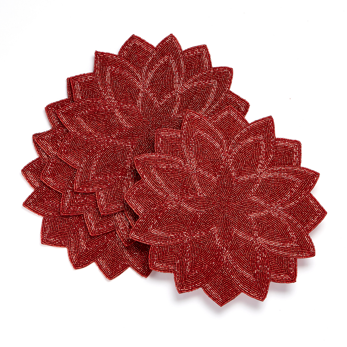Red Beaded Placemats, Set Of 4