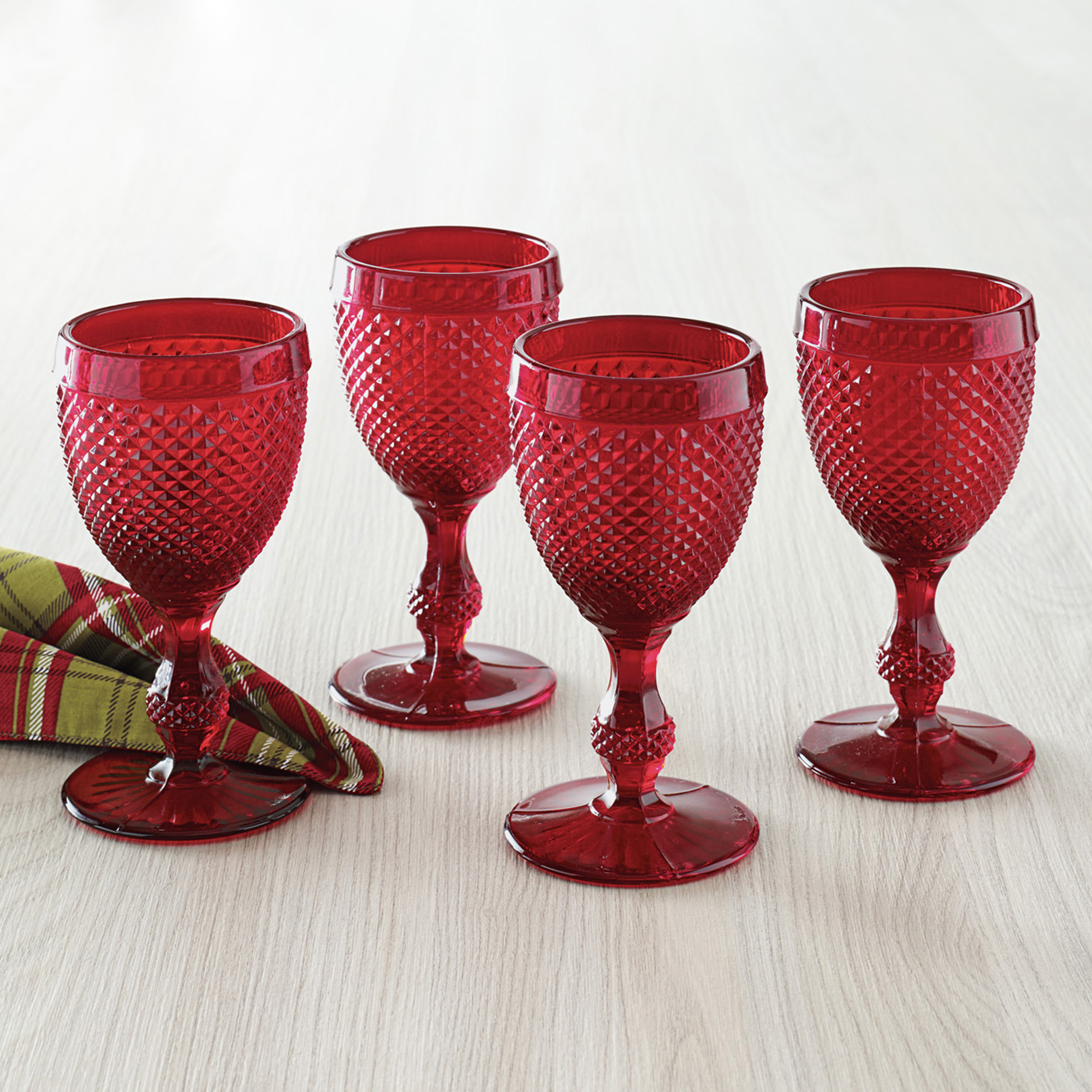 Ruby Red Wine Glasses, Set of 4