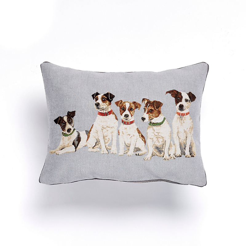 Jack Russell Puppies Tapestry Lumbar Pillow