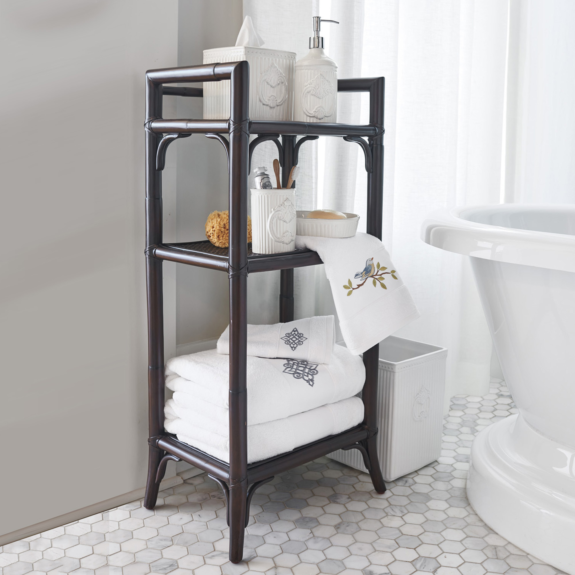 Rattan Cane Bath Shelf