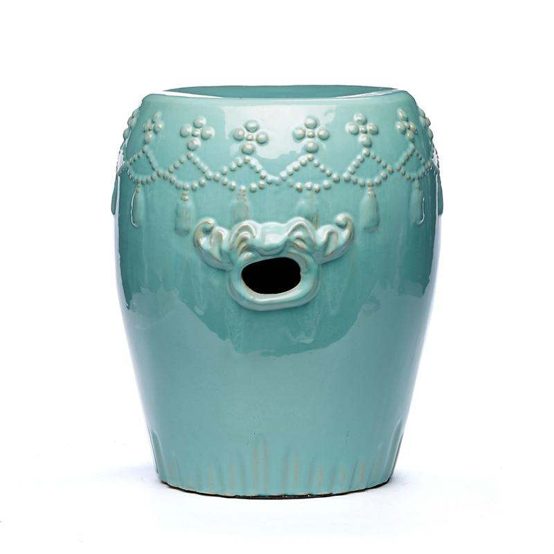 Tassel Garden Stool, Turquoise