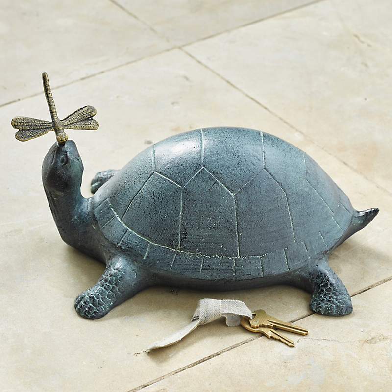 Turtle & Dragonfly Hide-A-Key Sculpture