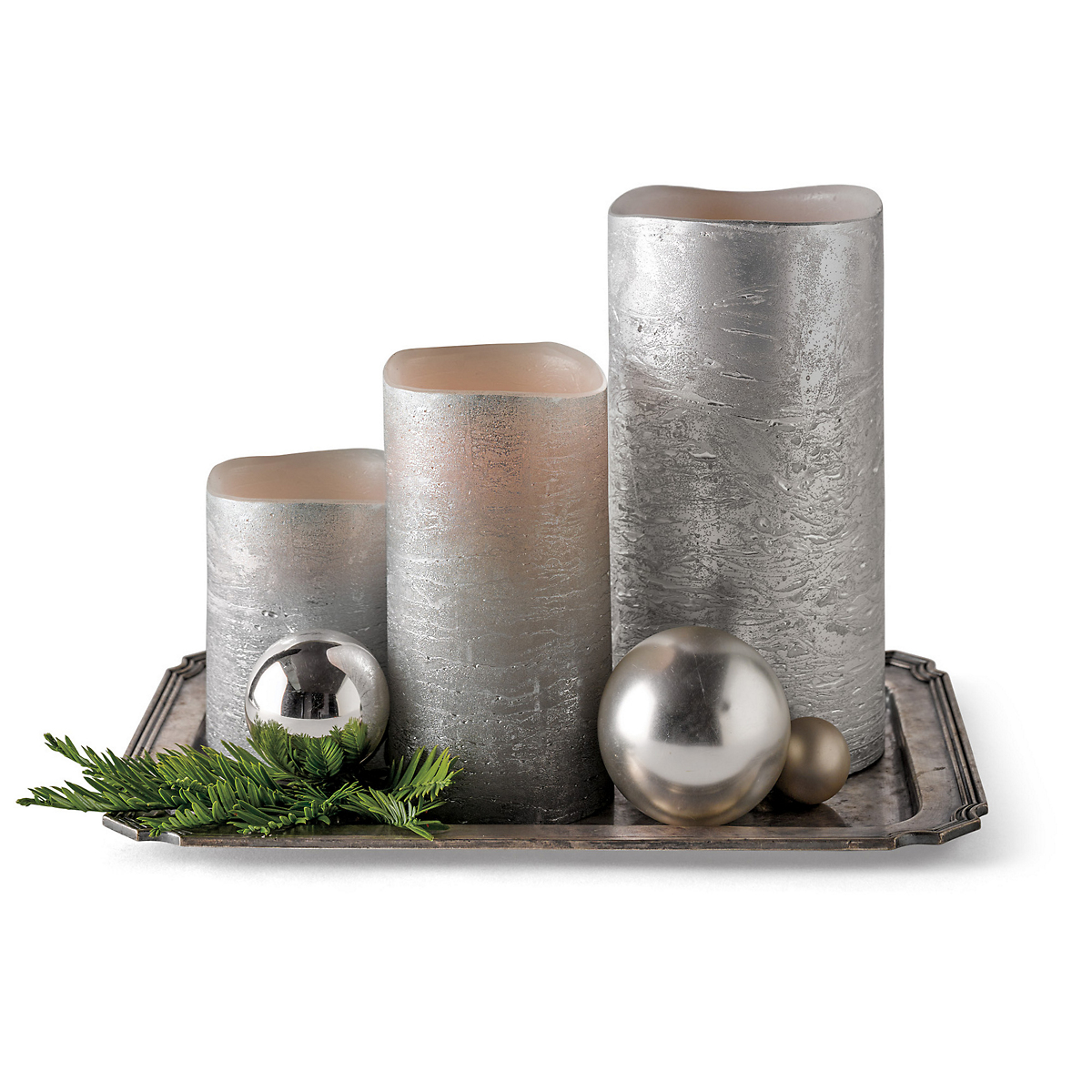 Silver Flameless Deluxe Candles