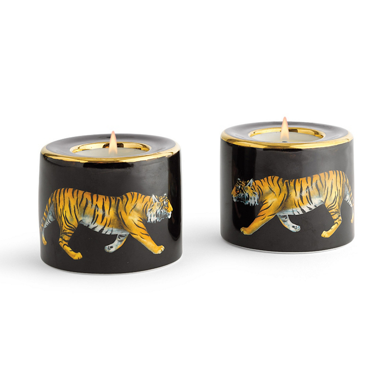 Halcyon Days Tiger Candleholders