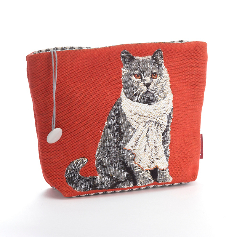 Chartreuse Cat Tapestry Makeup Bag