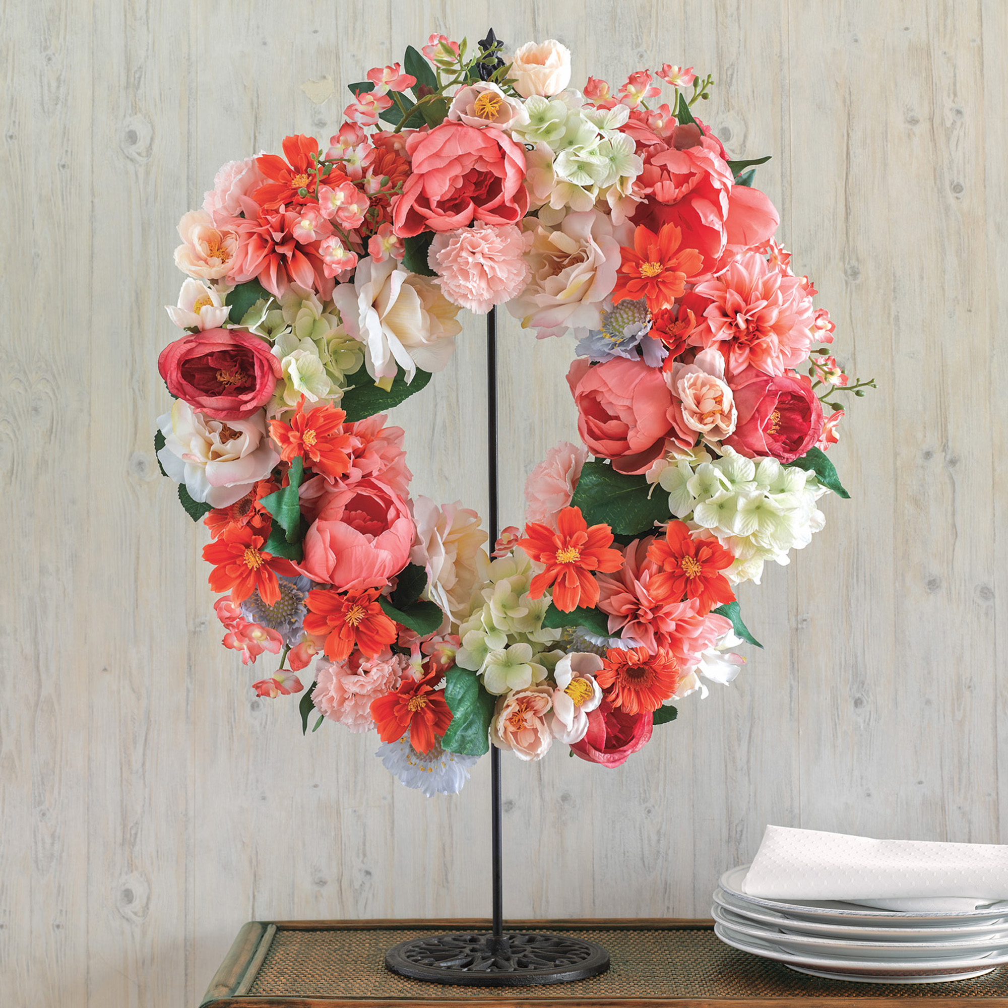 Peach & Cream Hydrangea Wreath