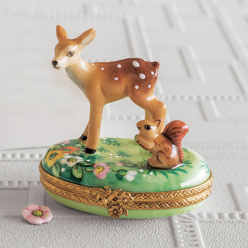 Limoges Signs Of Spring  Fawn & Squirrel