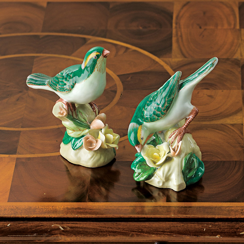 Pair Of Porcelain Songbirds