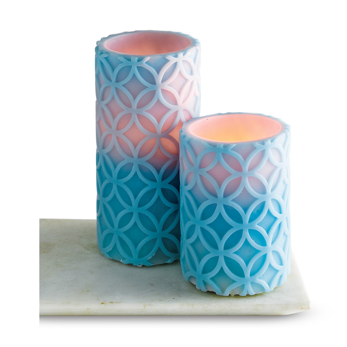 Blue Medallion Flameless Candles