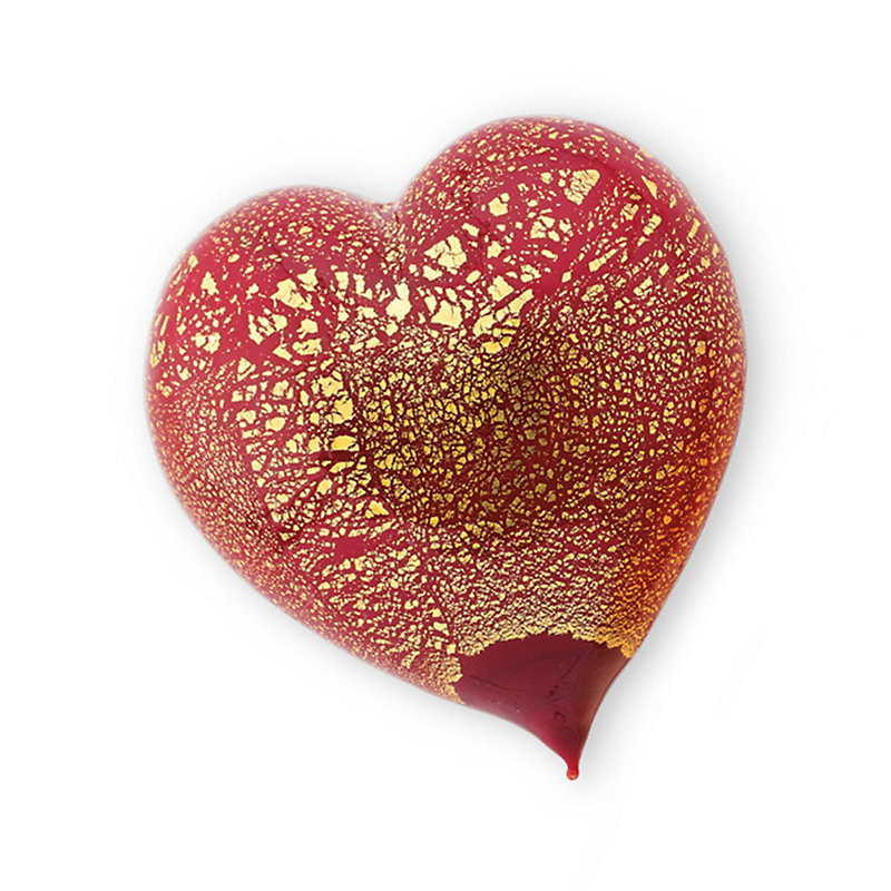 Murano Heart Paperweight, Red-Gold