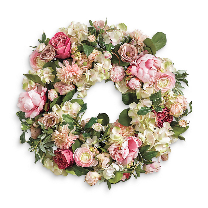 Pink Tea Rose Wreath