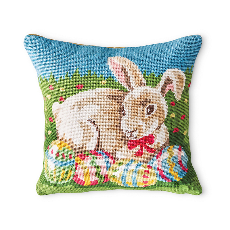 Easter Bunny Needlepoint Pillow