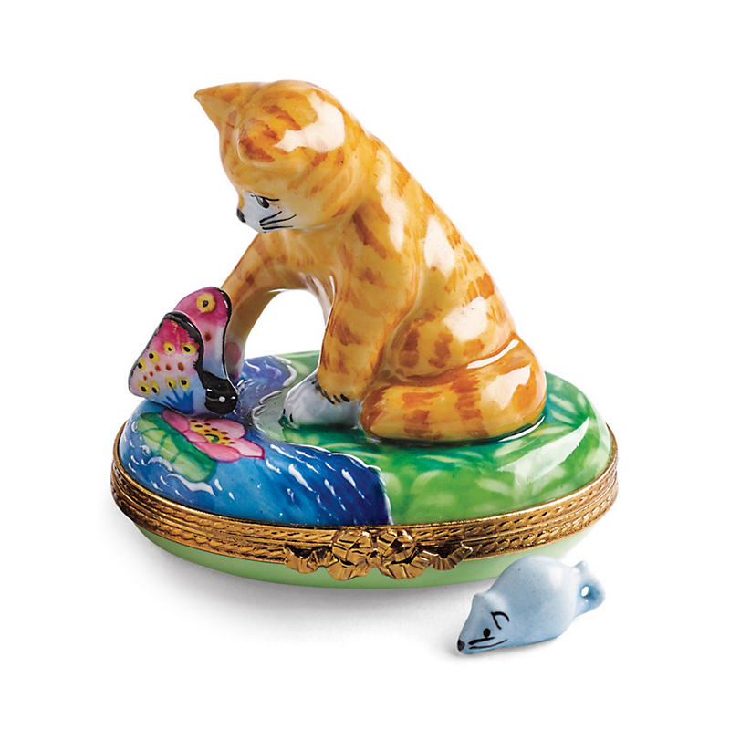 Limoges Curious Kitty With Mouse