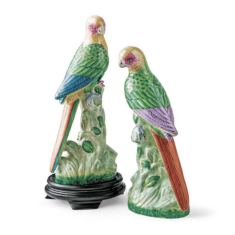 Tropical Parrot Figures, Set Of 2