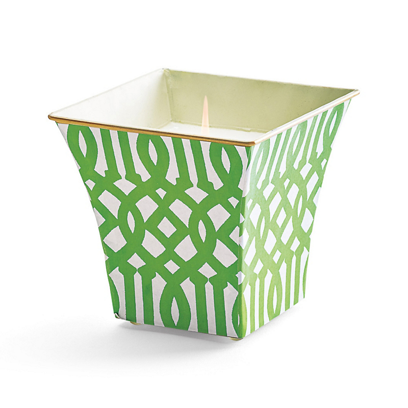 Cachepot Candle, Lime Fretwork