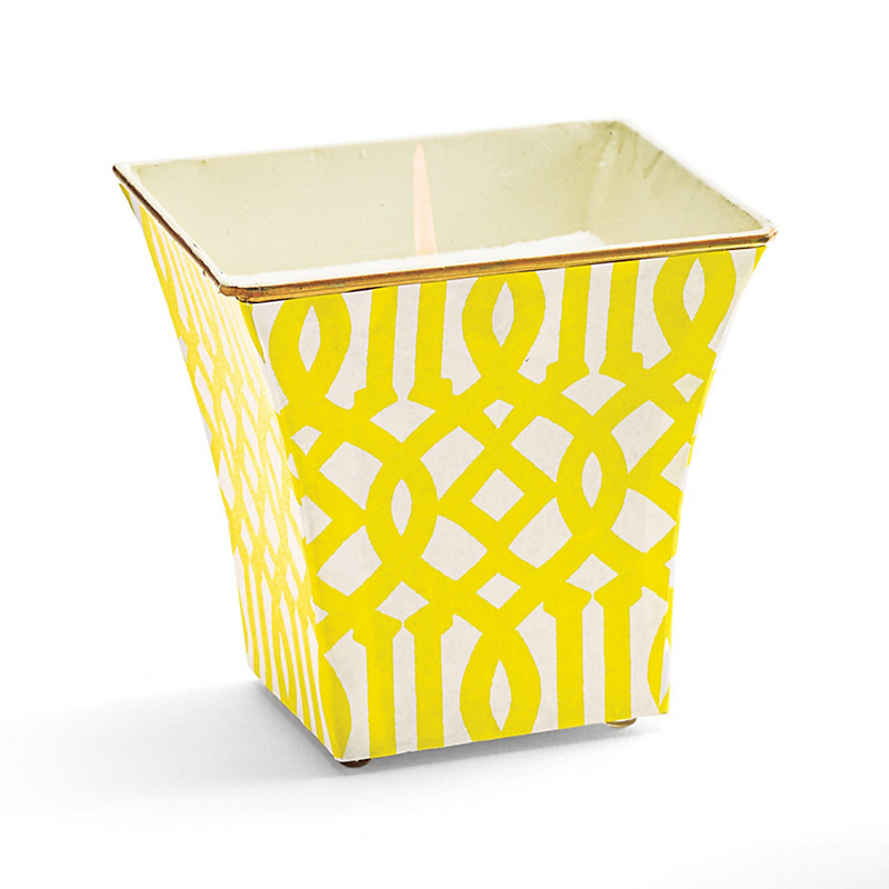 Cachepot Candle, Yellow Fretwork
