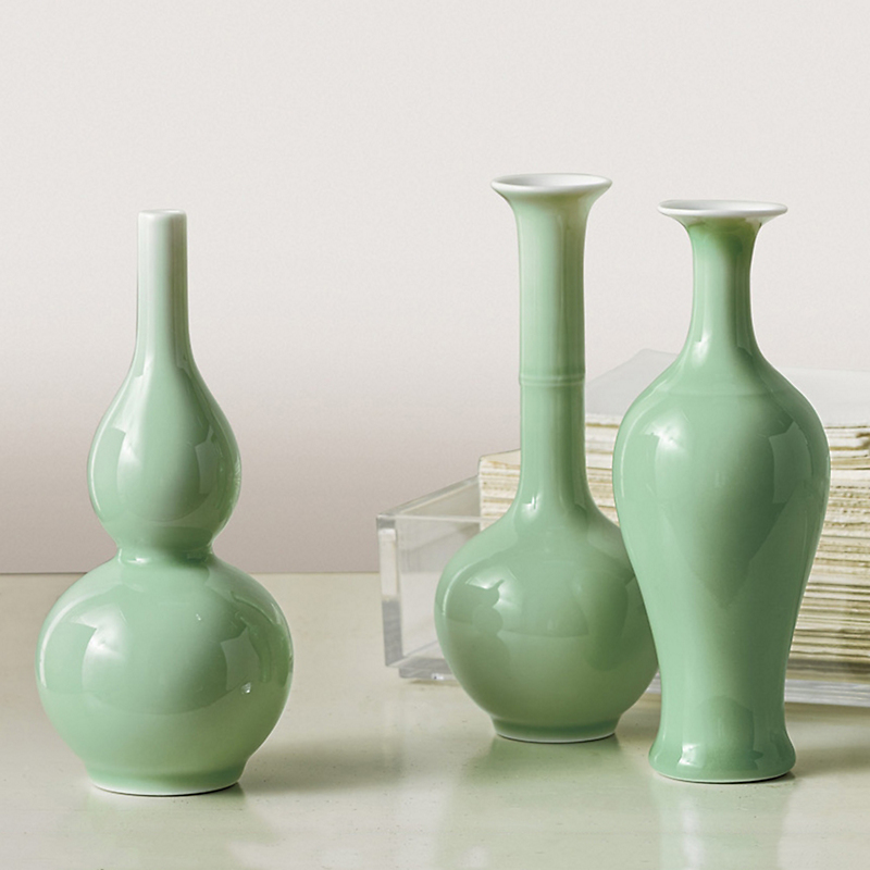 Celadon Porcelain Vases, Set Of 3