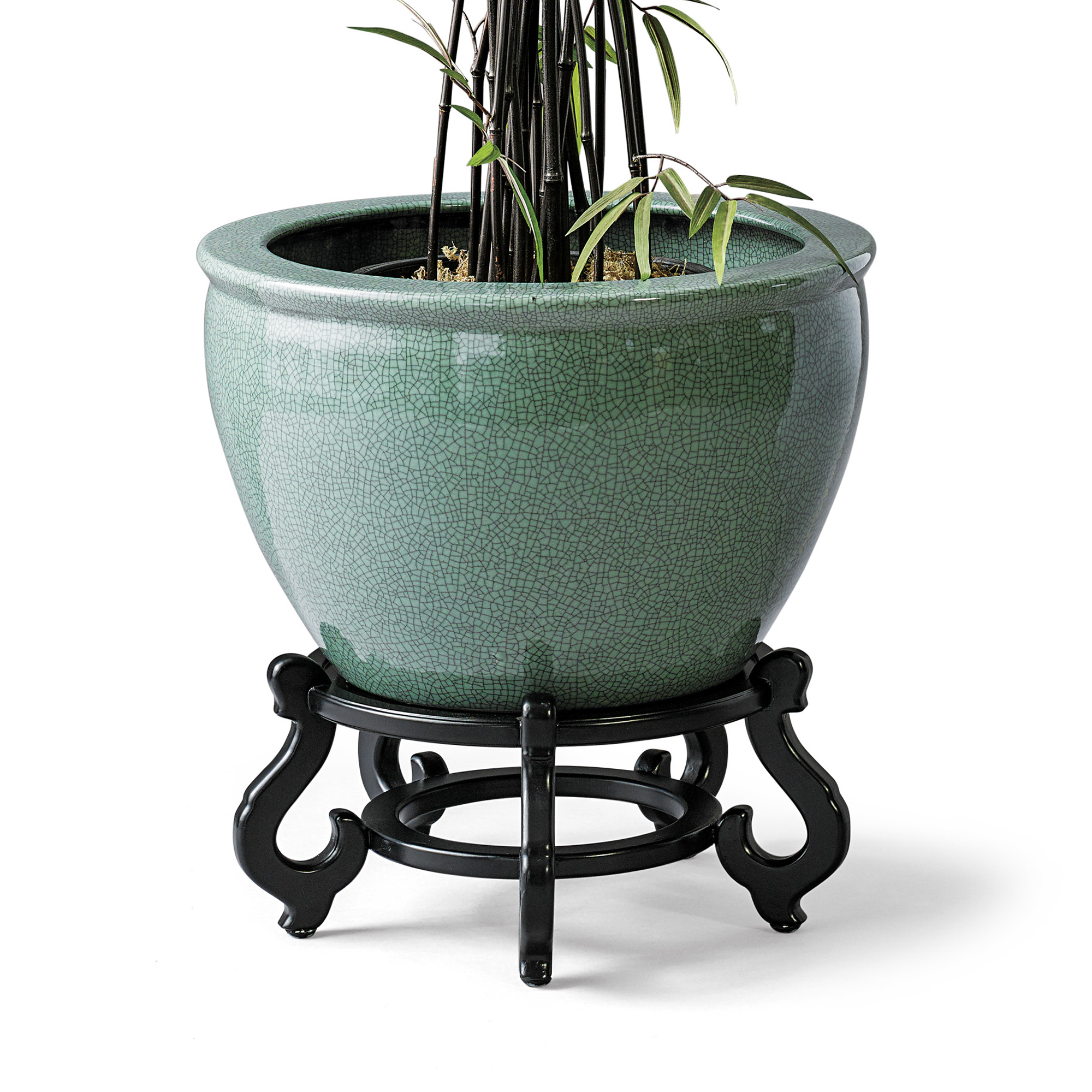 Celadon Crackle Planter & Stand