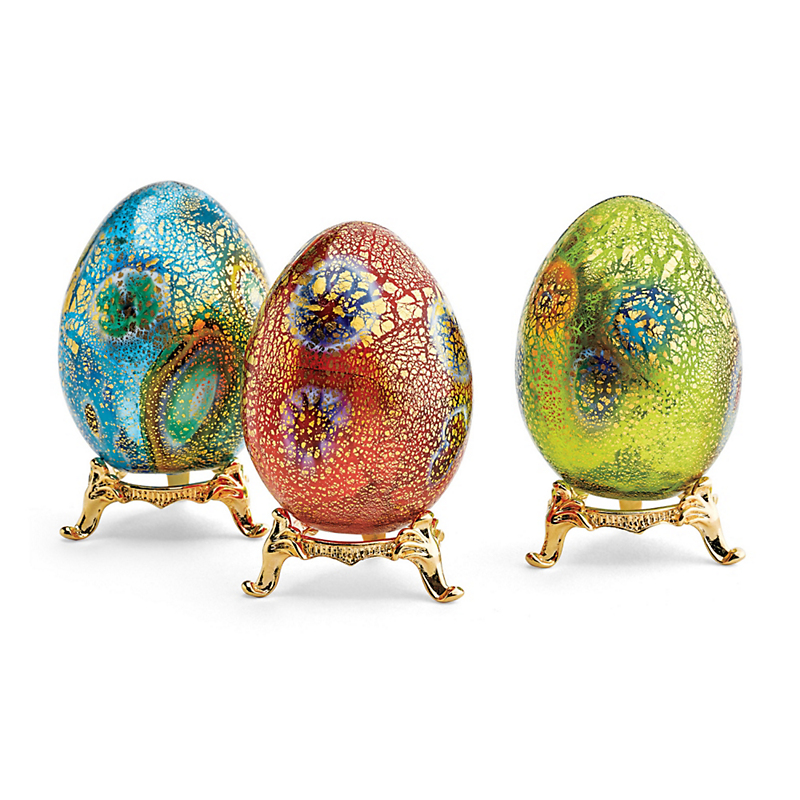 Murano Millefiori Eggs With Stand