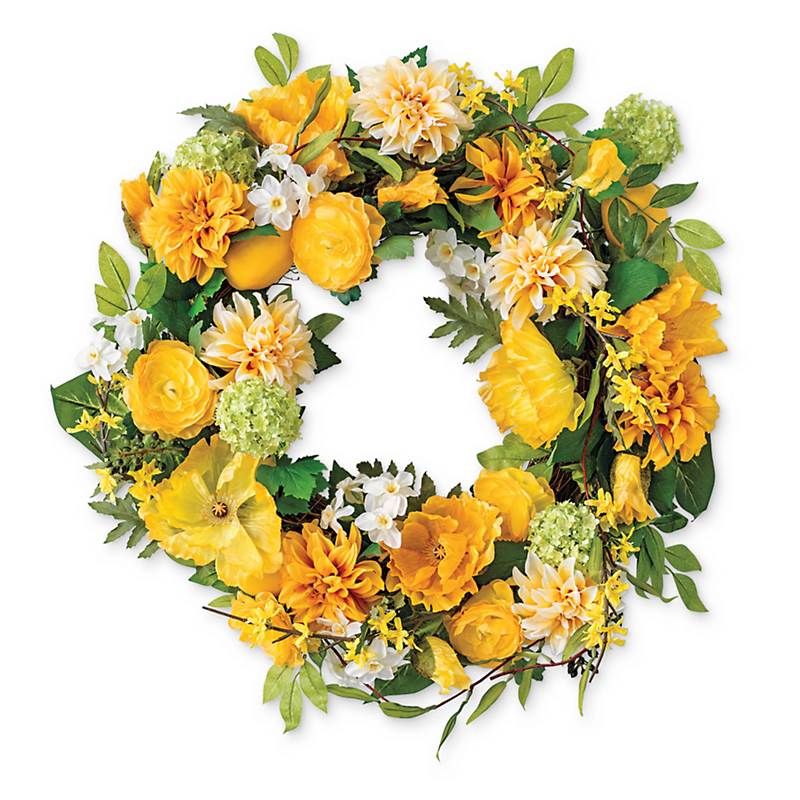 Summer Lemon Poppy Wreath