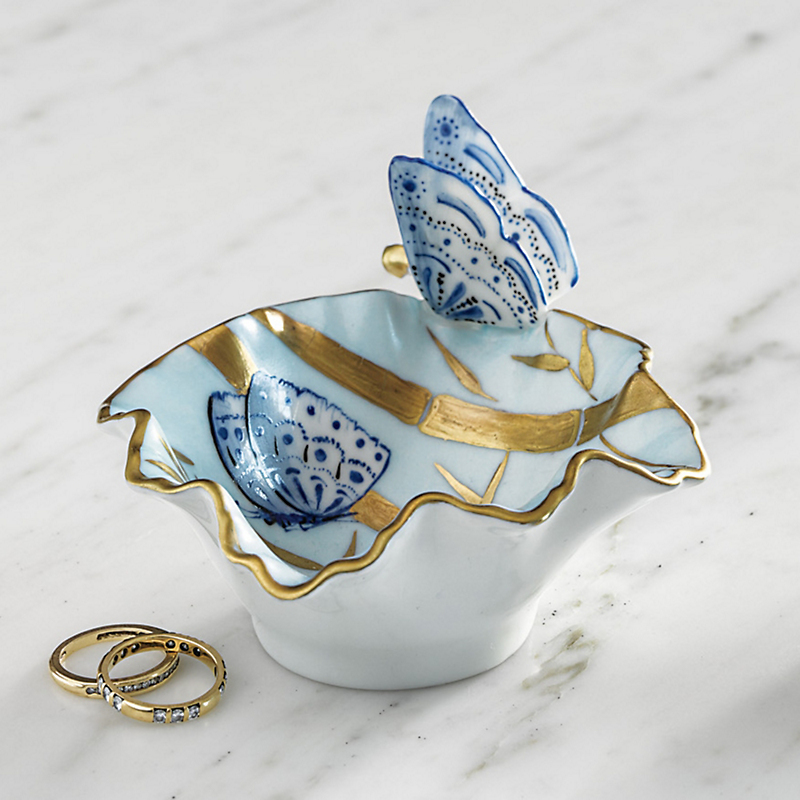 Limoges Bamboo & Butterfly Dish