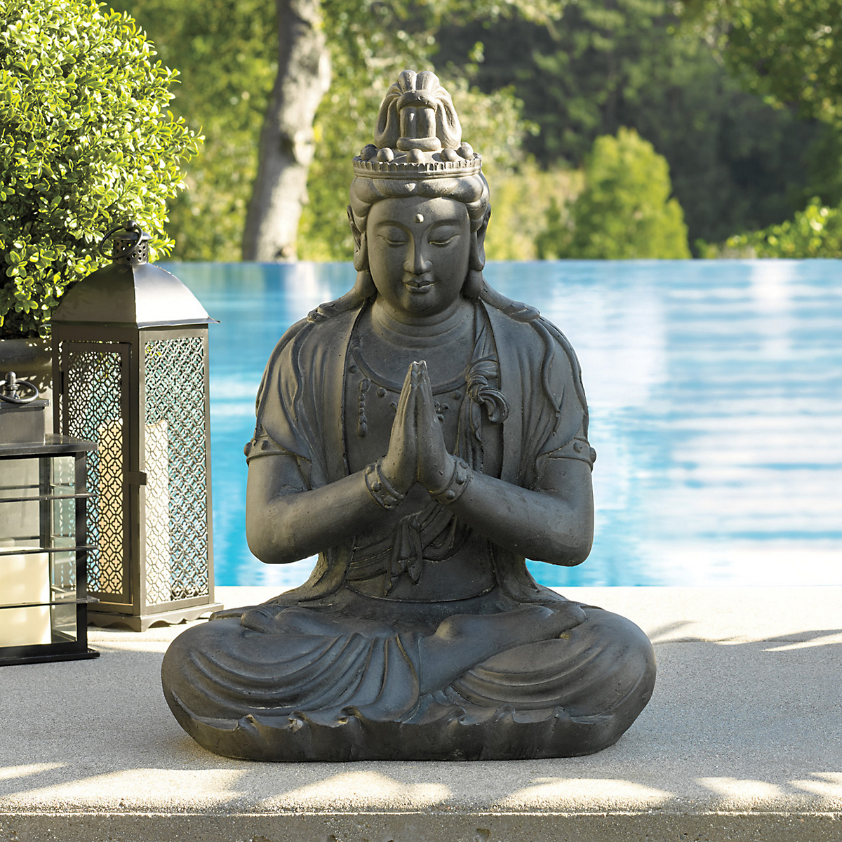 meditating garden buddha statue gump 39 s. Black Bedroom Furniture Sets. Home Design Ideas