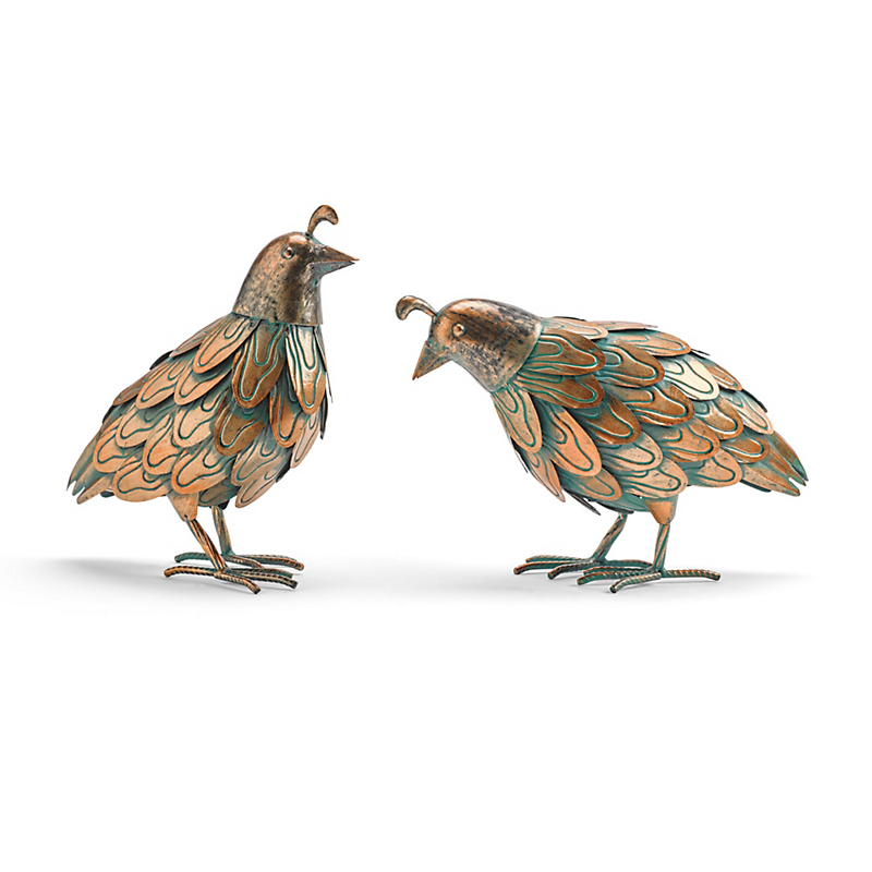 Metal Patina Quail Figures