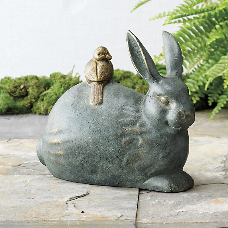 Bunny With Bird Friend Statue