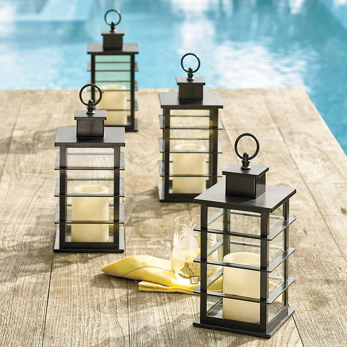 Outdoor Flameless Candle Lantern, Set Of 2