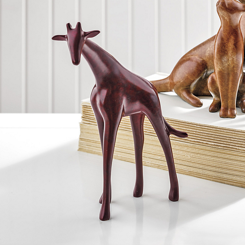 Loet Vanderveen Legacy Edition Giraffe Figure In Marbled Red