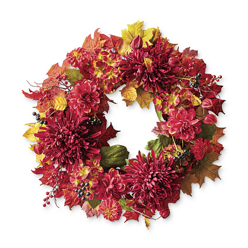 Burgundy Mum & Dahlia Wreath
