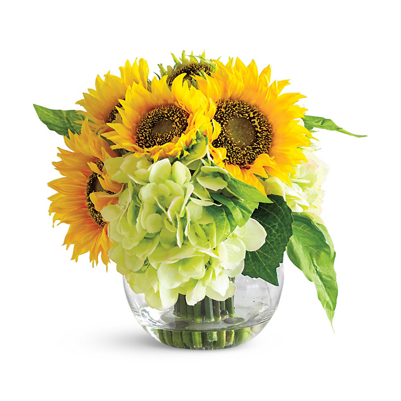Sunflower & Hydrangea Mixed Arrangement