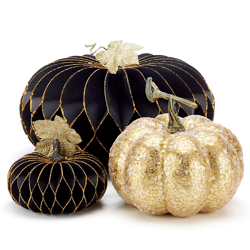 Black & Gold Pumpkins, Set Of 3