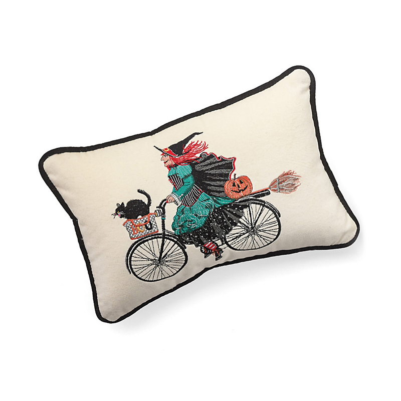 Embroidered Witch On Bike Pillow