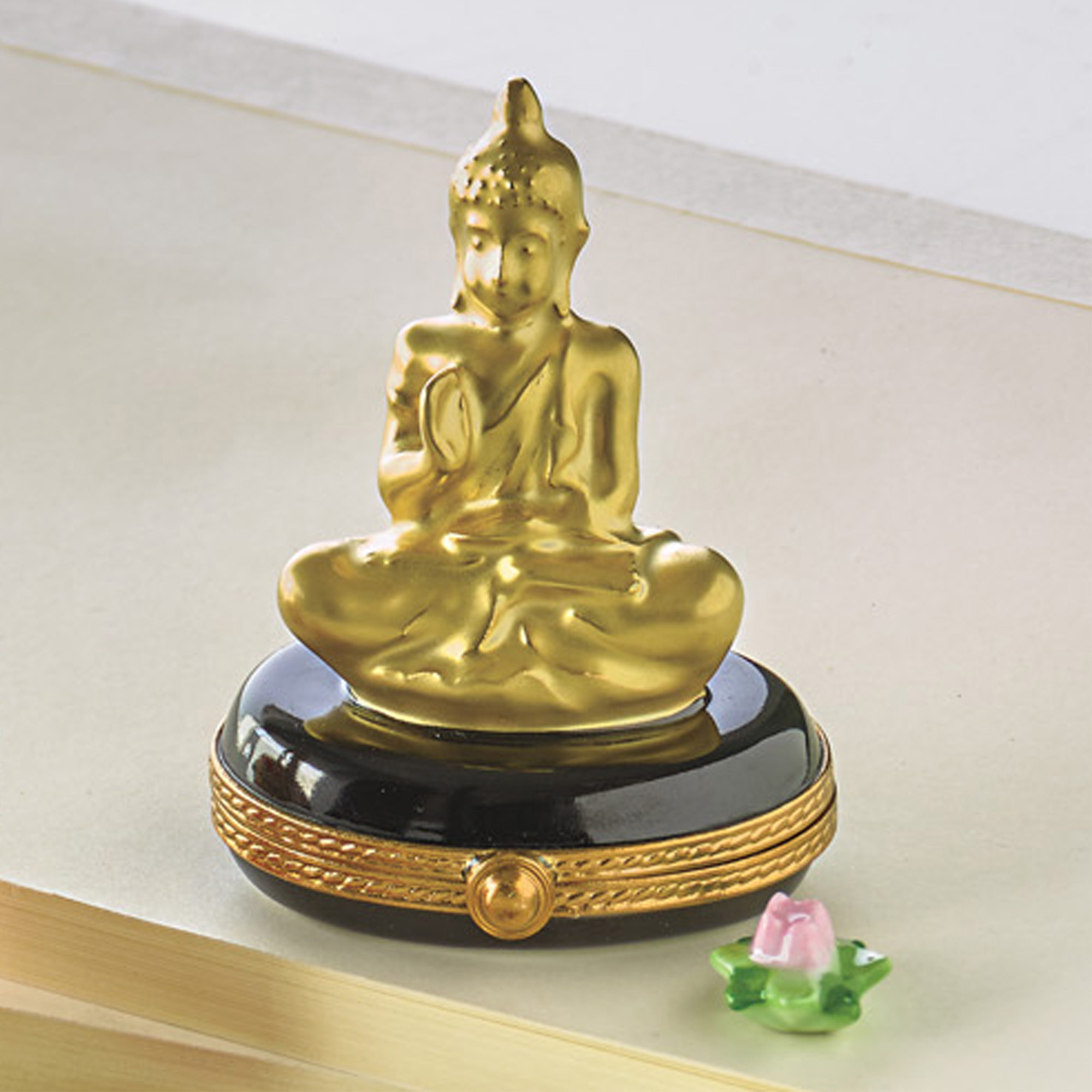 Limoges Golden Buddha With Lotus