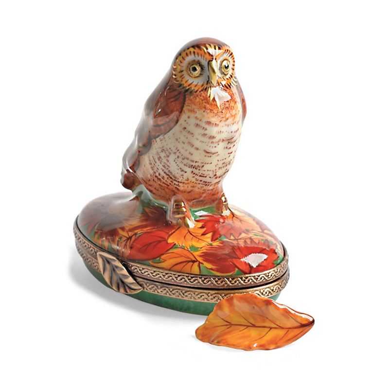 Limoges Woodland Owl With Autumn Leaf