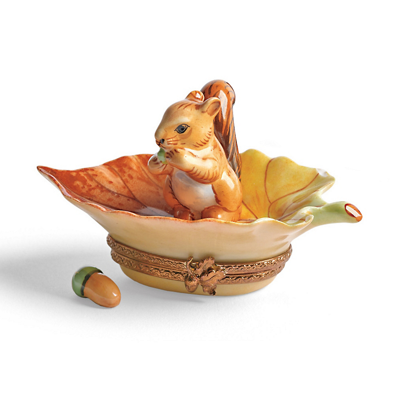 Limoges Woodland Squirrel With Acorn