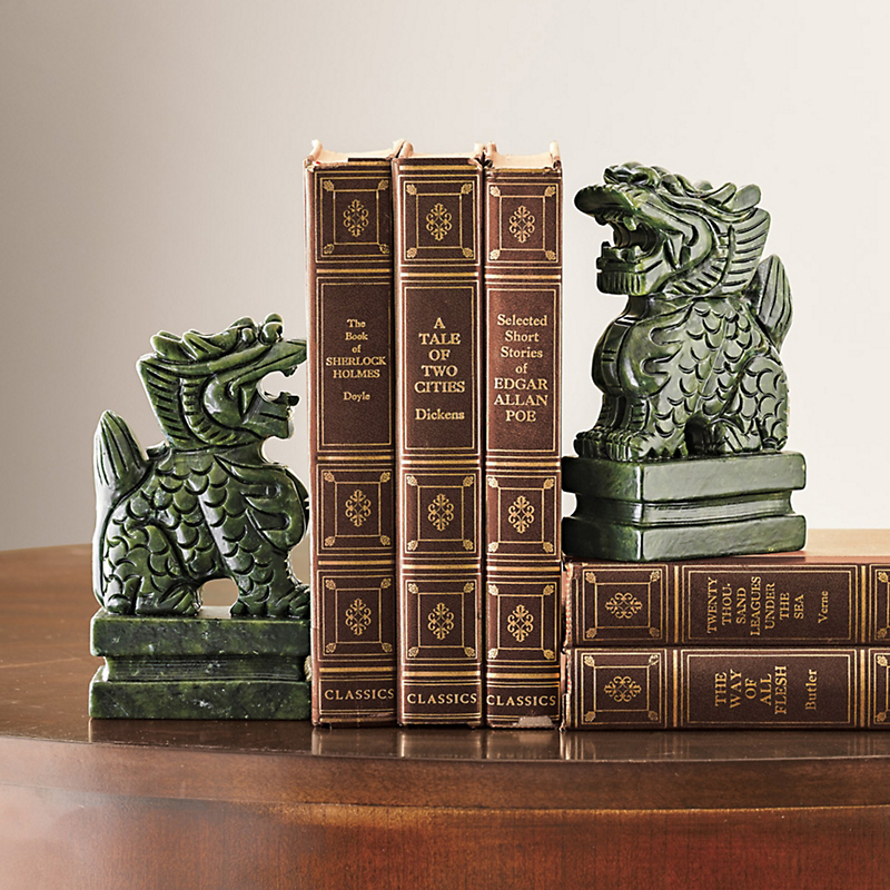 Green Aventurine Foo Dog Bookends