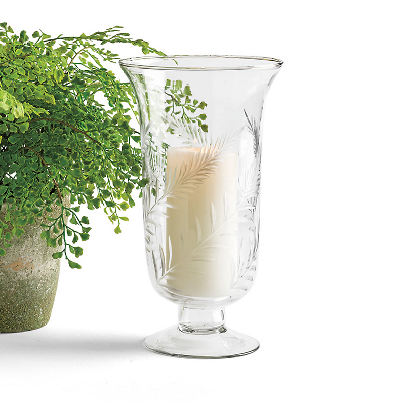 Fern Etched Glass Hurricane