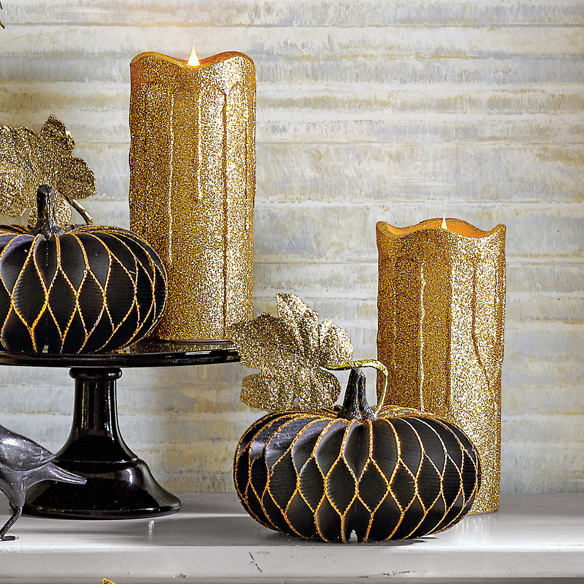 Golden Glitter Flameless Candles