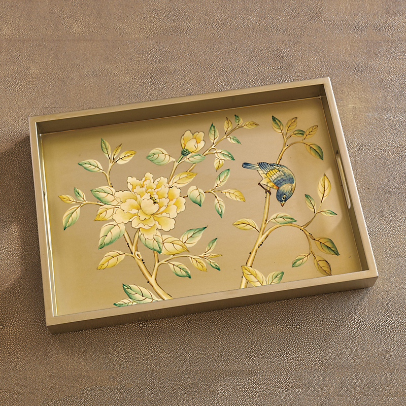 Golden Peony Decorative Tray