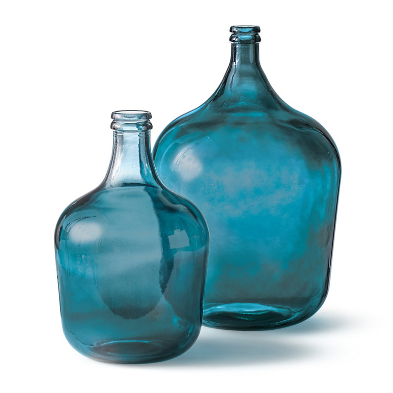 Farmhouse French Blue Glass Bottles