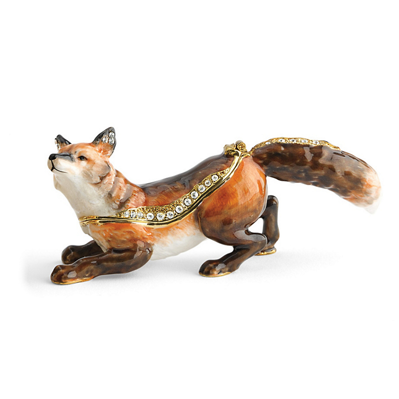 Austrian Crystal Enameled Fox Box