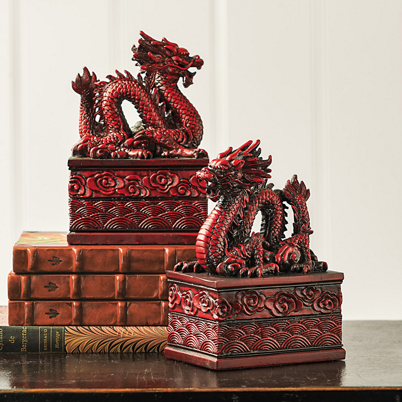 Red Dragon Bookends