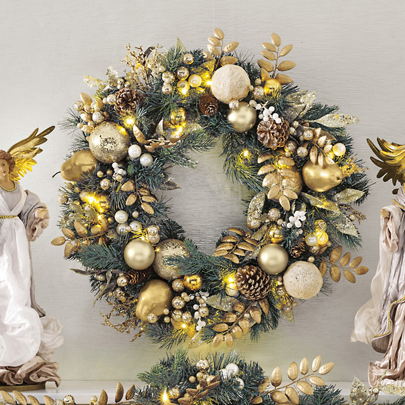 Pre-Lit Pearled Gold & Ivory Wreath