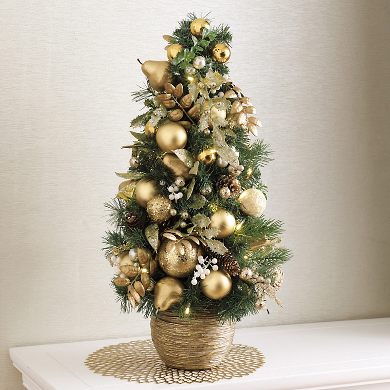 Pre-Lit Pearled Gold & Ivory Tree