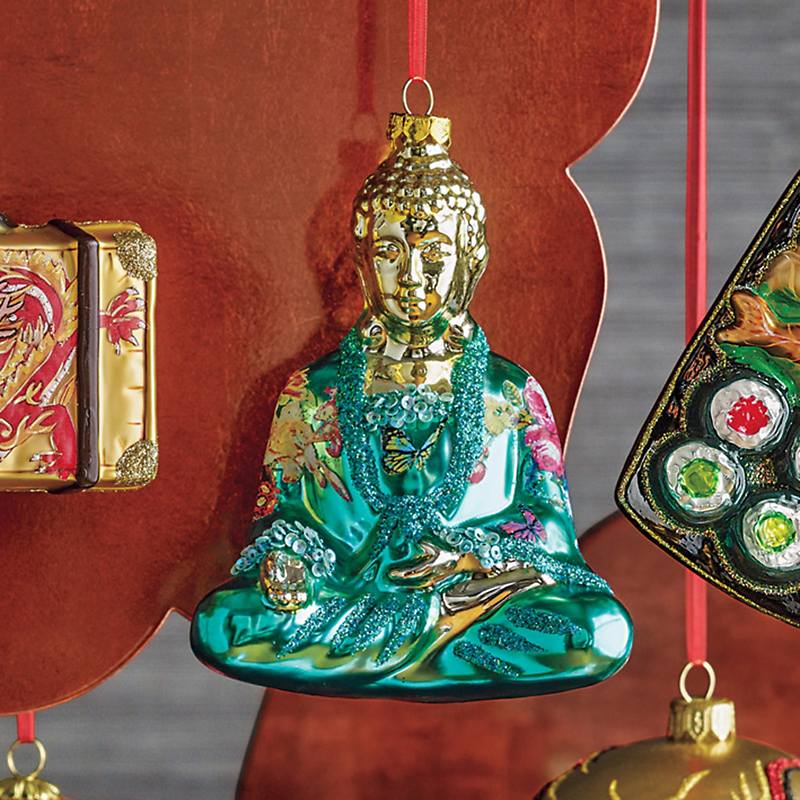 Far East Turquoise Buddha Christmas Ornament