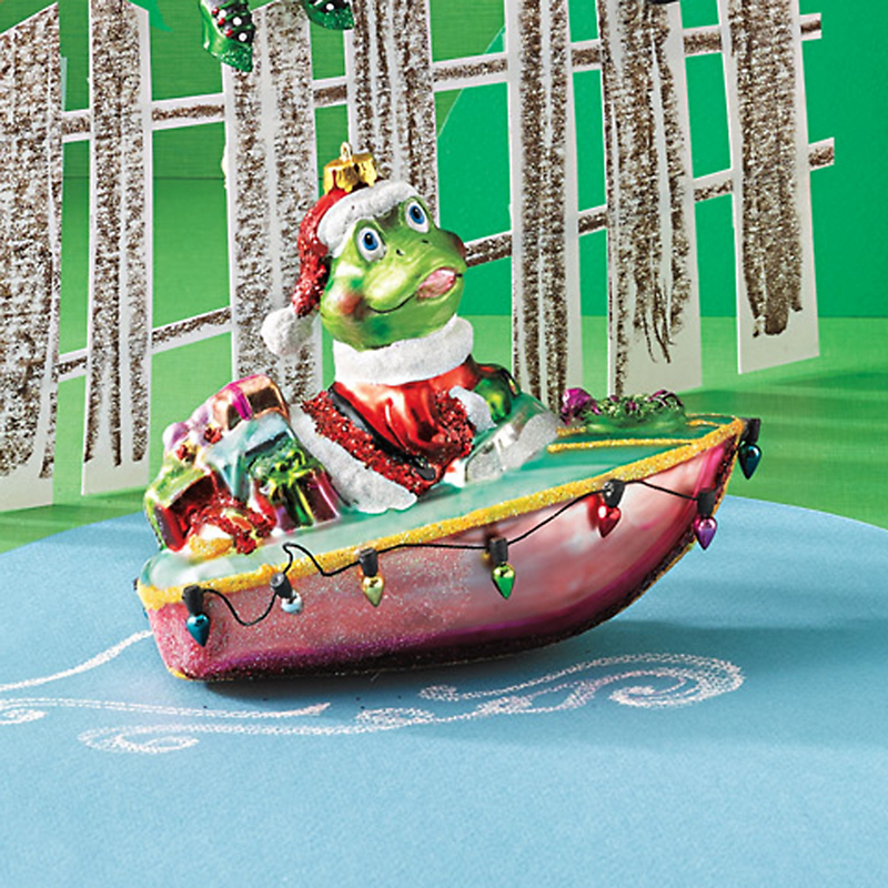 Barnyard Frog In Boat Christmas Ornament