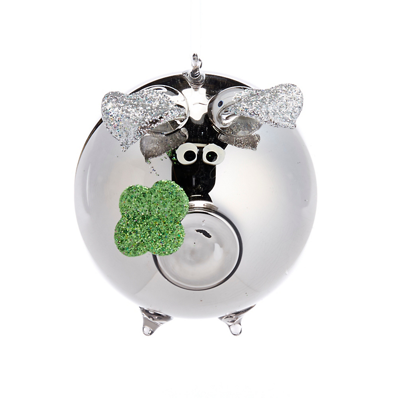 Barnyard Shiny Silver Pig Christmas Ornament