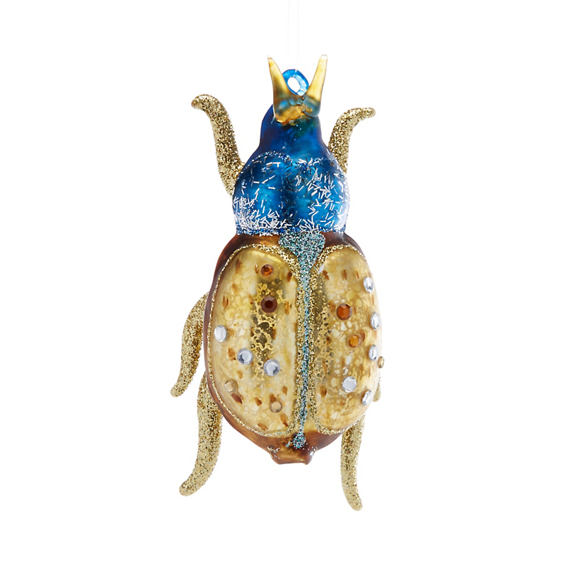 Garden Lover's Blue & Gold Glitter Beetle Christmas Ornament